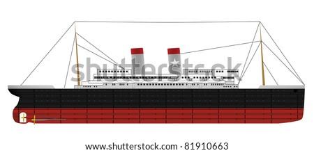 Illustration of retro passenger steam ship (vector illustration isolated on white background) - stock vector