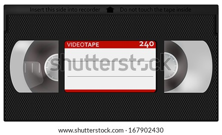 Illustration of Retro VHS Video Tape - Isolated on White - stock vector