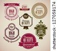 illustration of retro vintage label, Premium Labels, vector illustration - stock vector
