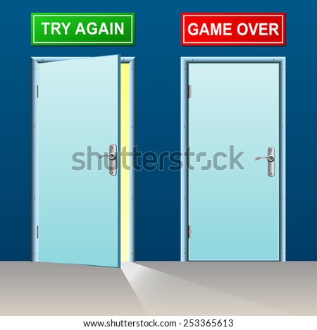 illustration of retry and game over doors concept
