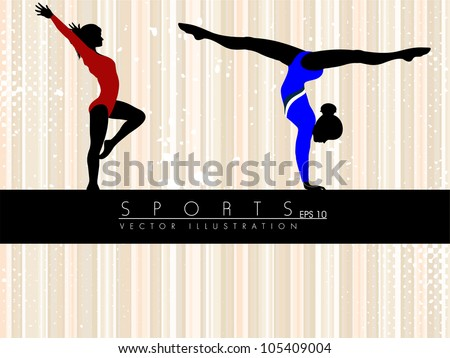 Illustration of rhythmic gymnastic girls on abstract grungy lines background. EPS10. - stock vector