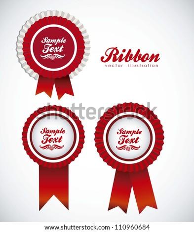 illustration of ribbon awards red, vector illustration - stock vector