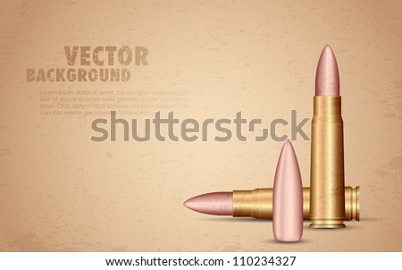 illustration of rifle bullet on grungy background