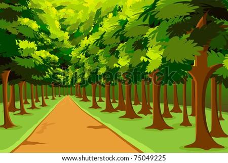 illustration of road going in between woods - stock vector