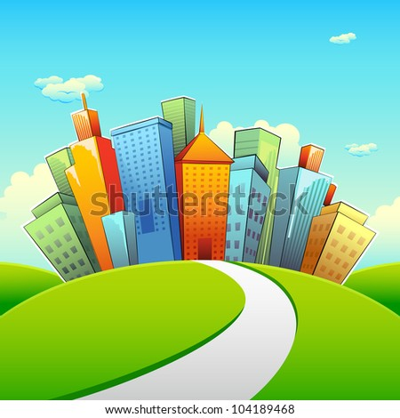 illustration of road going towards city with tall buildings - stock vector