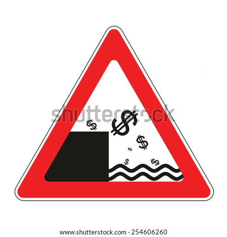 Illustration of road sign with US dollar currency decline concept  - stock vector