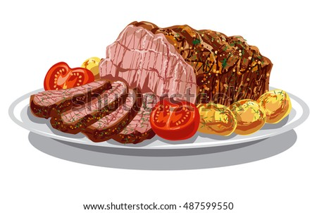 illustration of roast beef with baked potatoes and tomatoes