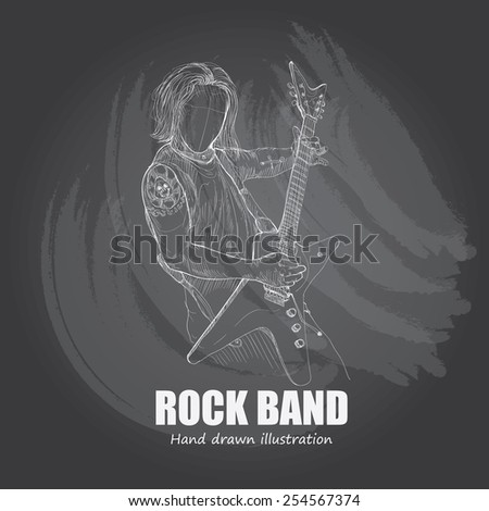 illustration of rock band. guitar - stock vector