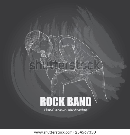 illustration of rock band. Vocal - stock vector