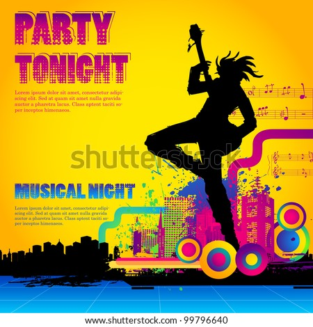illustration of rock star performing with guitar on colorful cityscape background - stock vector