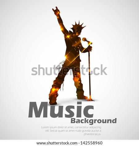 illustration of rock star singing for musical design - stock vector