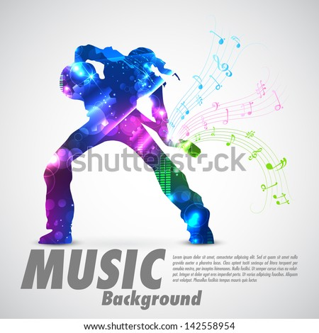 illustration of rock star with guitar for musical design - stock vector