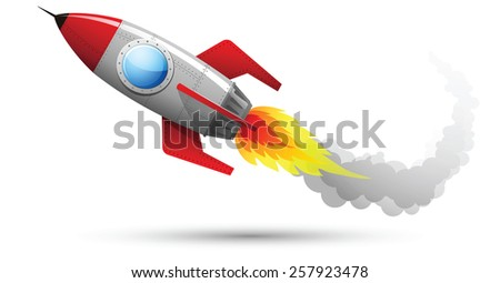 Illustration of Rocket Flying with fire and smoke - stock vector