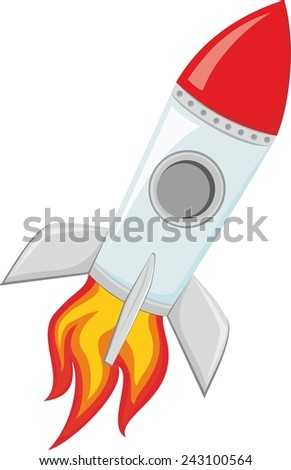 Illustration of rocket space ship isolated on white background