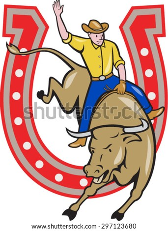 Illustration of rodeo cowboy riding bucking bull with horseshoe in the background done in cartoon style.  - stock vector