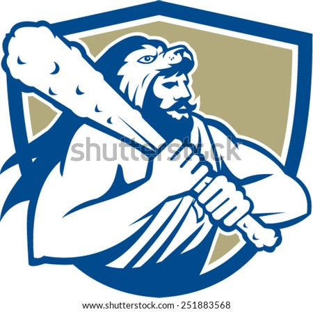 Illustration of Roman divine hero Hercules or Heracles of Greek mythology wearing a lion skin head wielding holding club set inside shield crest on isolated white background. - stock vector