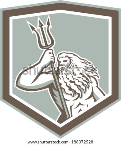 Illustration of Roman god of sea Neptune or Poseidon of Greek mythology holding a trident set inside shield crest on isolated white background. - stock vector
