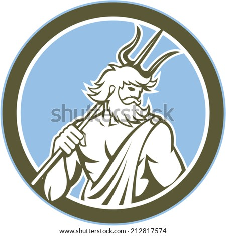 Illustration of Roman god of sea Neptune Poseidon of Greek mythology holding a trident on shoulder set inside circle on isolated background done in retro style - stock vector