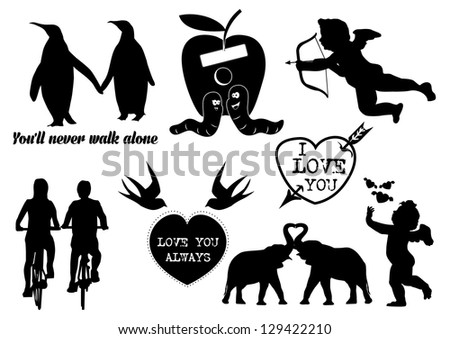 Illustration of romantic collection icons, vector - stock vector