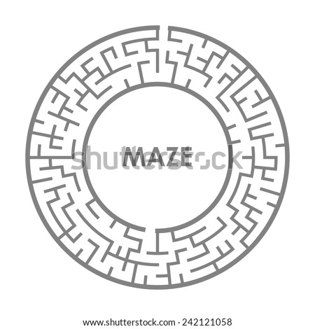 illustration of round maze isolated on white background - stock vector