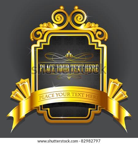 illustration of royal badge with golden frame on black background - stock vector