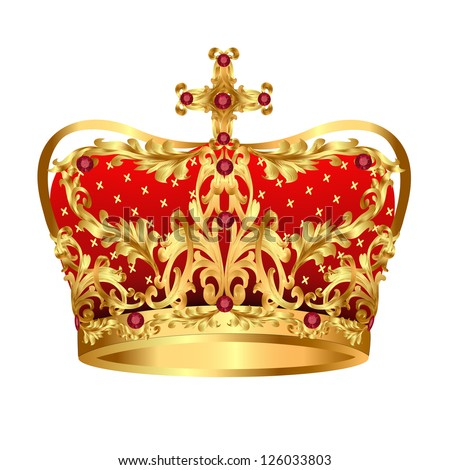 illustration of Royal gold crown with red precious stones