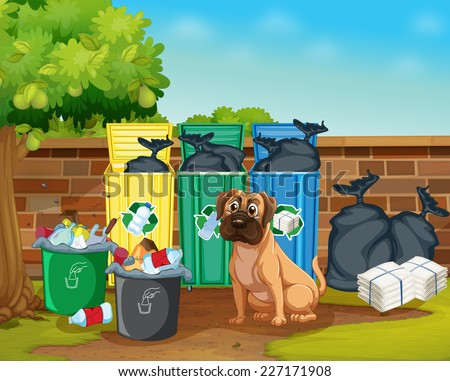 Illustration of rubbish and dog - stock vector