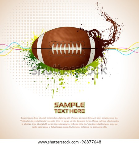 illustration of rugby ball on abstract grungy background - stock vector