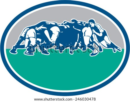Illustration of rugby union players in a scrum set inside oval with done in retro style. - stock vector