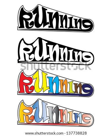 Illustration of Running Text in the Shape of a Shoe - stock vector