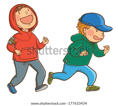 Illustration of running Together. SPORT. Children illustration for School books and more. Separate Objects. VECTOR. - stock vector