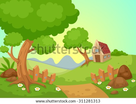 illustration of rural landscape vector