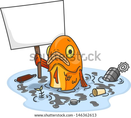 Cartoon polluted water stock images royalty free images vectors illustration of sad fish in polluted water carrying a blank board sciox Gallery