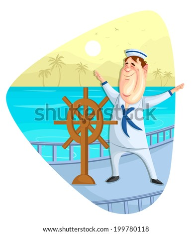 illustration of sailor on ship in vector - stock vector