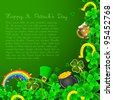 illustration of Saint Patrick's Day background with clover leaf and gold coin - stock vector