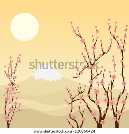 Illustration of sakura branches with mountain on the background. - stock vector