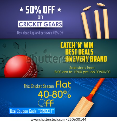 illustration of sale and promotion banner for cricket season - stock vector