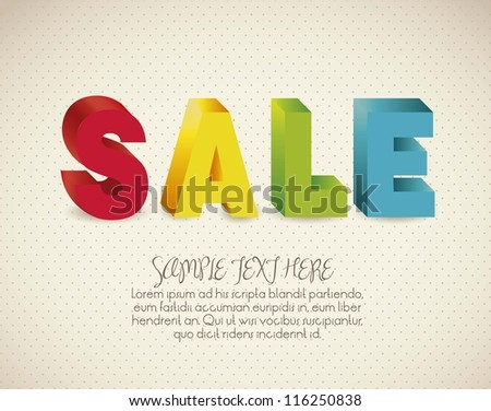 illustration of sale, with colorful 3D letters,  vector illustration