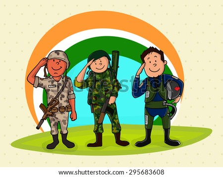 Illustration of saluting Indian force officers in uniform on national tricolor background for Independence Day celebration. - stock vector