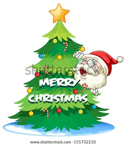 Illustration of Santa hiding at the back of the christmas tree on a white background