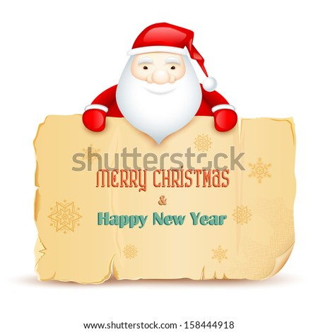 illustration of Santa with Merry Christmas and Happy New Year message - stock vector