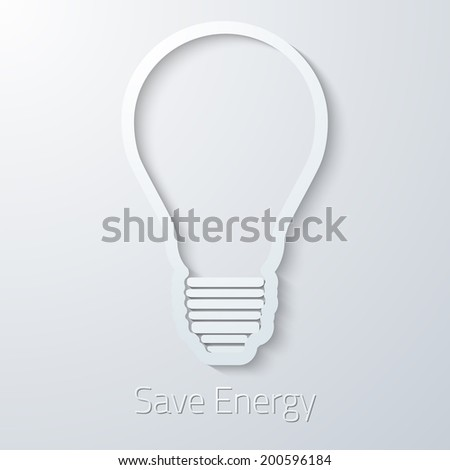 Illustration of Save Energy Paper Light Bulb flat vector icon - stock vector