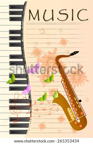 illustration of Saxophone on colorful abstract grungy background - stock vector