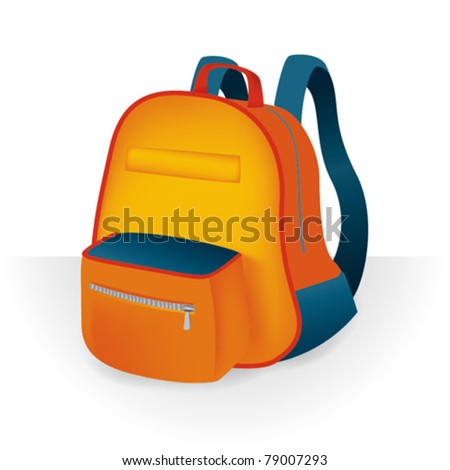 Illustration of school bag - stock vector