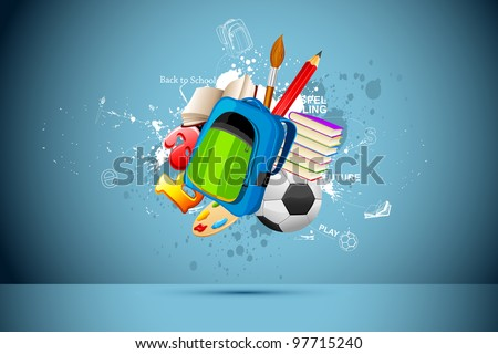 illustration of school bag,book,pencil and soccer ball on abstract background - stock vector