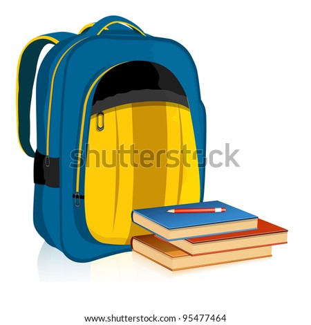 illustration of school bag with book and pencil on white background - stock vector