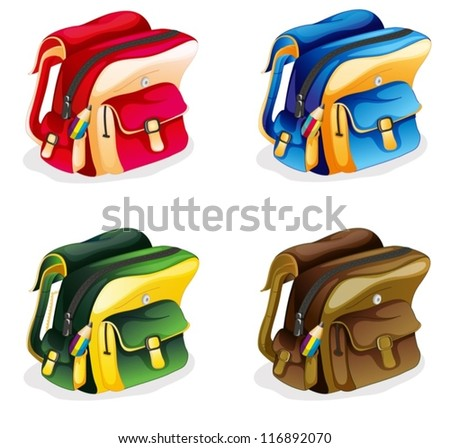 illustration of school bags on a white background