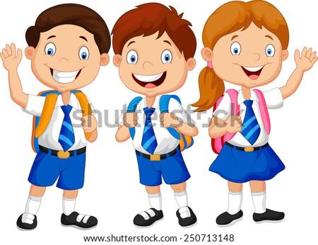 Illustration of school children  - stock vector