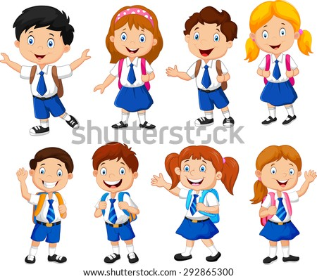 Illustration of school children cartoon - stock vector