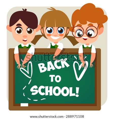 illustration of school kid playing in front of blank board. Back to school. Cute schoolchild. Illustration of School Kids in flat style. Cartoon characters. - stock vector